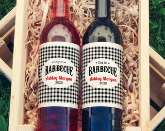 Dig In Barbecue Wine Labels - Thank You Wine Labels  - Bridal Shower Wine Bottle Labels - BBQ Labels - Color Coordinated