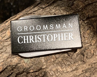 Engraved Stainless Steel 3-Tool Black Money Clip Personalized Custom Best Man Gift, Groomsman Gift, Ushers Gift, Gift For Dad