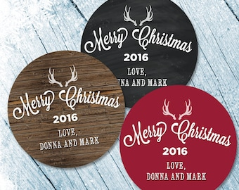 Merry Christmas Labels, Merry Christmas Stickers, Happy Holiday Labels, Happy holidays stickers, Christmas Card Seals, Antlers