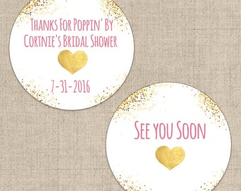 Gold Glitter and Heart Bridal Shower Stickers, Custom Labels - Round Wedding labels - Bridal Shower stickers - Wedding Candy Stickers