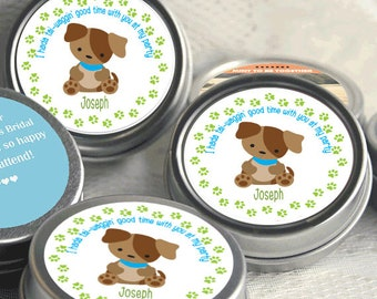Puppy Party - Mint Tin Party Favors - Puppy Themed  Party Supplies - Puppy Birthday Party Favors - Puppy Baby Shower Favors - 12 - 48 Ct