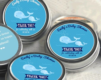 40 Personalized Whale Baby Shower Mint Tins - Whale Baby Shower Favors - Whale Favor - Sweet Whale Baby Shower Decor