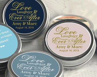 Love Laughter and Happily Ever After Wedding Mint Tins - Wedding Mints - Personalized Wedding Favors - Wedding Decor - Party Favors