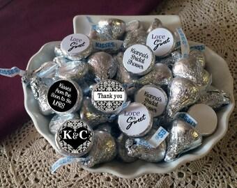 Wedding Favors - 108 Hershey Kiss® Stickers - Candy Labels - Hershey® Kiss Seals  - Damask Bridal Shower - Bridal Shower Kisses
