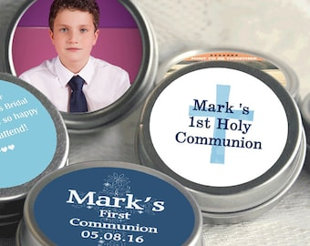 First Holy Communion, Candy Tins, Boys Holy Communion Mint Tins, Communion Favors, Party Favors, Candy Favors, Photo  Communion Favors