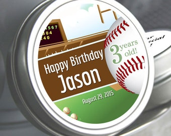"12 Personalized Birthday Baseball Mint Tins - Need a different quantity? Click on the ""Pricing & Quantity"" tab to see all pricing"