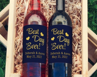 Best Day Ever! Personalized  Large Wine Labels | Custom Colored Wine Labels | You Choose the Colors!