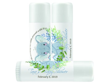 Personalized Little Peanut Elephant Baby Shower Lip Balm Labels - 1 Sheet of 12 Lip Balm Labels - Little Peanut Baby Shower - Blue Wreath