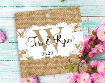 "12 custom tags square 2"", wedding themed, Burlap and Lace tags, monogram, wedding favor tags, candy bag tags, personalized favors, hang tag"