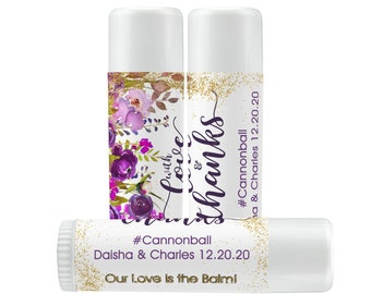 Lip Balm Labels   Personalized Lip Balm Labels - With Love and Thanks labels  1 Sheet of 12 Lip Balm Labels - Purple Rose Lip Balm Labels