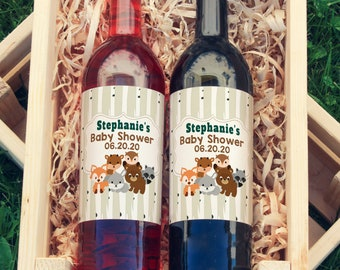Woodland Baby Shower Large Wine Bottle Thank You Custom Labels - Labels for Large Bottles