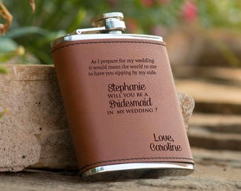 Personalized Will You Be My Bridesmaid Brown Leather Flask, Bridesmaid Gift, Maid of Honor Gift, Bridal Party Gift - Bachelorette Gift