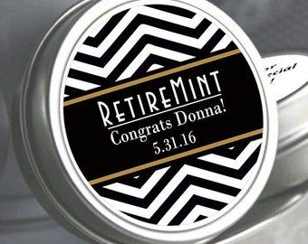 12 Chevron Retirement Mint Tins -  - RetireMints - Chevron - Retirement Favors - Retirement Decor - Retirement Mints - Retired Mints