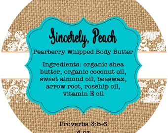 Sincerely, Peach Body Butter Labels - Private Listing
