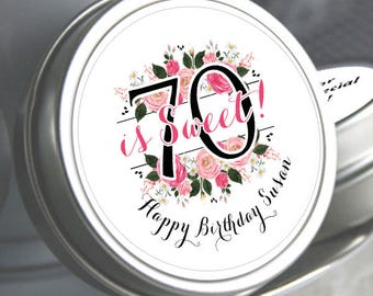 70th Birthday Mint Tins - Birthday Mints - Floral - Birthday Favors - Birthday Decor - Birthday Mints - Mint Favors - Milestone Birthday