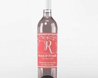 Wedding Wine Labels - Custom Wine Label - Personalized Wine Label - Wedding Wine Bottle Label - Monogram Wedding - Set of 4