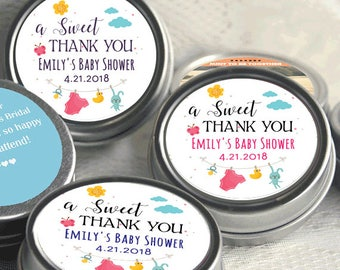 A Sweet Thank You Baby Shower Mint Tins - Thank you - Baby Shower Favors - Baby Shower Decor - Baby Shower Mints - Select from 12 - 48 Count