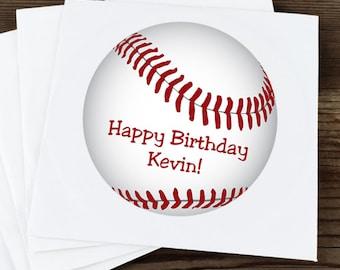 Glossy Round Sticker Label Tags - Custom Baseball Favor & Gift Tags  - Baseball Stickers - Birthday Stickers - Baseball Tags - Sports Labels