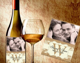 Wedding Wine Labels - Photo Wine Label - Wedding Wine Bottle Labels - Rustic Wedding Wine Labels - Wedding Decor - Kraft Paper Bag Labels