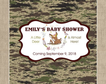 Large Personalized Hershey Candy Bar Wrappers - Baby Shower Candy Bar Wrapper  -  Baby Shower Decor - Camouflage - Baby Deer