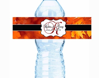 "30 Fall Bronze Fancy Monogram Water Bottle Labels - Select the quantity you need below in the ""Pricing & Quantity"" option tab"
