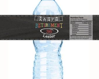 Personalized Retirement Chalkboard Theme Water Bottle Labels - Retirement Water Labels - Retirement Bottle Labels - Retirement Party ideas