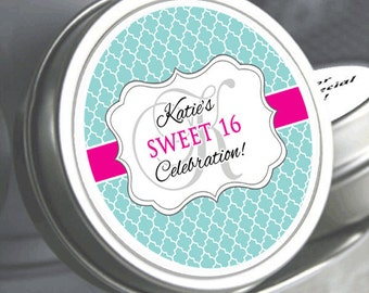 Sweet 16 Favors - Sweet 16 Birthday Favors - Butterfly Favors - Birthday Favors -12 Sweet 16 Fancy Monogram Quatrefoil Birthday Mint Tins