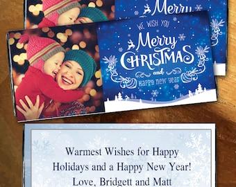 12 Merry Christmas Photo Personalized Candy Bar Wrappers -Candy Bar Labels, Candy Bar Stickers, Merry Christmas, Christmas Stocking Stuffer