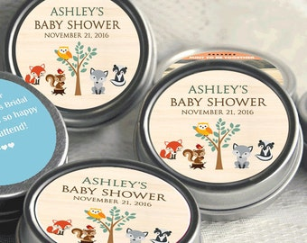 12 Woodlands Baby Shower Mint Tins - Baby Animals Woodlands - Baby Animals Favors - Baby Shower Favors - Woodlands Baby Shower Favors