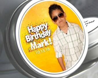 12 Birthday Mint Tin Favors - Birthday Party Favors - Birthday Photo Favors - Birthday Decor - Birthday Favors - Birthday Mints