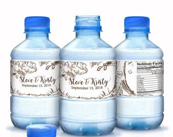 Wedding Water Bottle Labels - Wedding Water Labels - Custom Water Bottle Labels - Carved Initials Wedding Water Bottle Labels - Woodlands