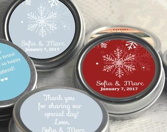 Personalized Tin Mints - 12 Wedding Mint Tins  - Snowflake Wedding Favors - Winter Weddings - Winter Wedding Decor - Winter Wedding Favors