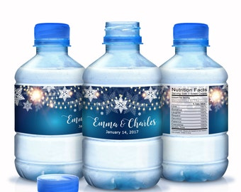30 Winter Water Bottle Labels, Personalized Water Bottle Labels,  Snowflakes, Holiday, Winter, Winter Wedding Decor