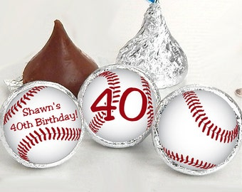 108 Baseball Hershey Kiss® Stickers - Birthday Hershey Kiss Stickers- Baseball Birthday Kiss Labels - Hershey Kiss Seals - Candy Stickers