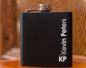 Personalized Black Flask | Engraved Flask | Best Man Gift | Wedding Party Gift | Groomsman Gift | Matte Black Flask | Vertical Initial Flask