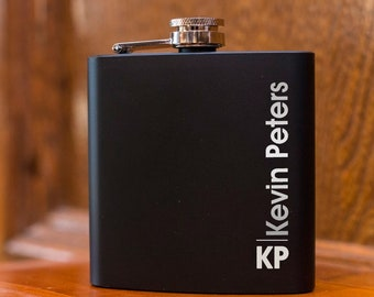 Laser Etched Flask -Vertically Personalized Black Hip Flask - In Gift Box - Best Man Gift Wedding Party Gift - Groomsman Gift - Black Flask