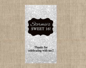 Silver Glitter Miniatures Chocolate Wrappers - Birthday Mini Chocolate Wrappers - Birthday Decor - Wedding Decor - Silver Glitter Stickers