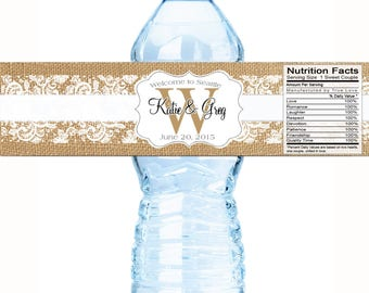 Monogram Water Bottle Labels -  Wedding Bottled Water Labels -Rustic Wedding - Burlap and Lace - Wedding Decor - 30  Water Bottle Labels