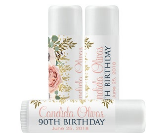 Personalized Lip Balm Labels - Pale Pink Rose Birthday Balm Lip Balm labels - 1 Sheet of 12 Lip Balm Labels - Birthday Lip Balm Labels