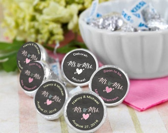 108 Mr and Mrs Chalkboard Hershey Kiss® Stickers - Wedding Kiss Stickers - Candy Labels - Custom Labels - Wedding Favors - Candy Stickers
