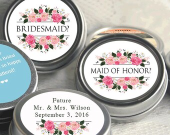 6 Will you be my Bridesmaid ?  Mint Tins, Personalized Mint Favor Mint to Be Wedding Favor Personalized Will you be my bridesmaid Favor