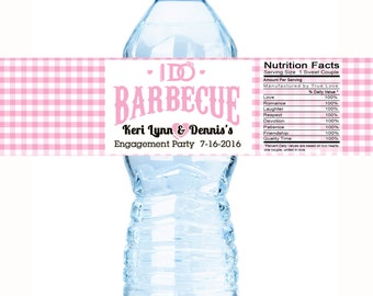 Water Bottle Labels, I Do BBQ, Engagement Party Wedding, Bachelorette, Bridal Shower, Customizable  Personalized Labels - I DO BBQ Pink