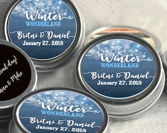 12 Personalized Christmas Mint Tins Favors - Winter Wonderland - Winter Wedding Favors - Wedding Mint Tins - Wedding Decor - Bridal Shower