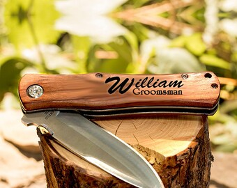 Groosmen Gift, Pocket Knife, Hunting Knife, Groomsmen Knife Gift, Custom Knife, Wedding Knife, Engraved Knifes, Folding Hunting Knife