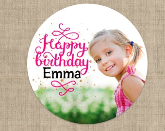 Birthday Photo Stickers, Custom Birthday Labels - Round Birthday labels - Photo Birthday stickers - Candy Stickers - Envelope Seals