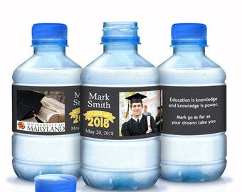 2018 Graduation Water Bottle Labels - 30 Graduate Bottled Water Labels - Custom Water Bottle Labels - 30 Photo Graduate Water Bottle Labels