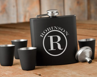 Laser Etched Flask - Circle Monogram Black Flask & Shot Glasses Set - In Wood Gift Box - Groomsman Gift - Wedding Party Gift - Best Man Gift