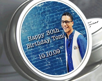 Personalized Happy Birthday Your Photo Mint Tins - Photo Candy Favors  - Personalized Photo Tins - Party Mint Tins - Party Decor