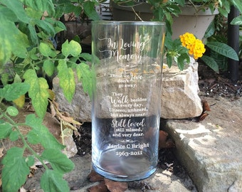 "Personalized Memorial Vases - In Loving Memory Vase -Floating Wedding Memorial Candle - Memorial Candle - Engraved Memorial Cylinder - 7"""