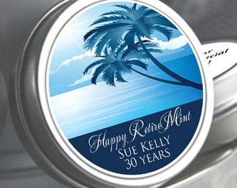 12 Retirement Mint Tins - RetireMints - Palm Tree - Retirement Favors - Retirement Decor - Retirement Mints - Retired - Beach Themed Mints